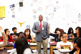 Tommy Anderson teaches Healthcare Occupations class at Western High School in Las Vegas Tuesday, November 1, 2011.
