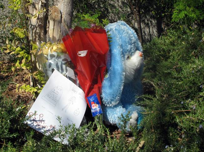 A small memorial sits near West Wesley Lake Place and South Sandstone Bluffs Drive where 12-year-old Faith Monet Love was struck by a vehicle and killed Oct. 31, 2011, while trick-or-treating.