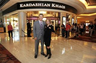 Mirage President Felix Rappaport and Cynthia Bussey attend the soft opening of Kardashian Khaos at the Mirage on Nov. 1, 2011.