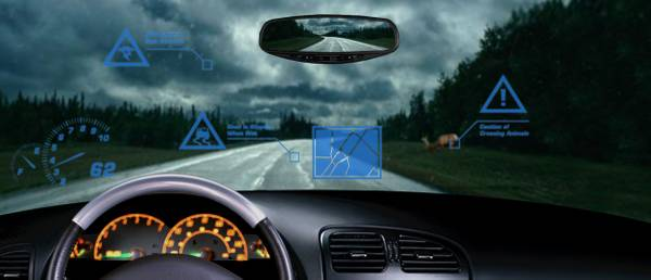 Windshield data projector