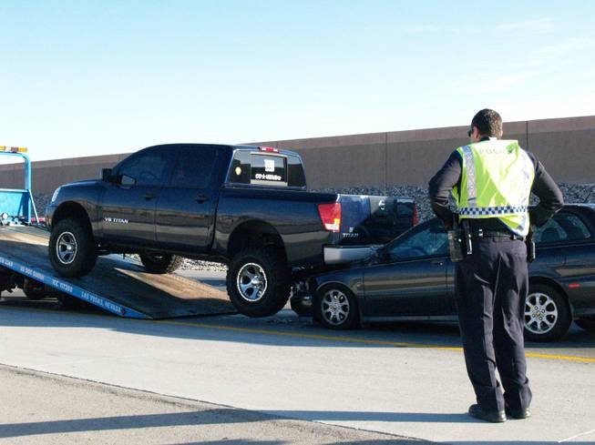 Car accidents on the Las Vegas Beltway slow down traffic during Friday morning rush hour.