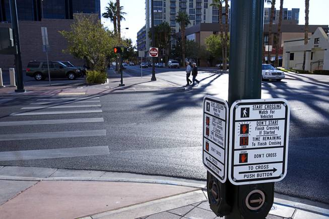 A view of bulbouts at the intersection of 4th Street and Clark Avenue in downtown Las Vegas Monday, October 7, 2011. Bulbouts are sidewalks that extend into the street near the intersection corners to make the road more narrow and hopefully slow traffic down.