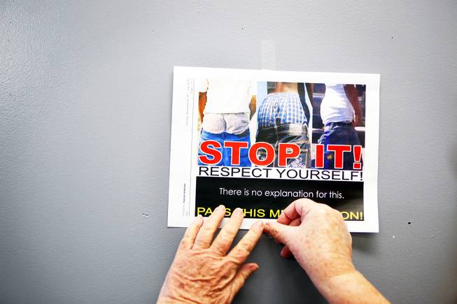 There is a campaign to end sagging pants at Chaparral High School in Las Vegas Tuesday, November 8, 2011.