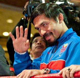 Manny Pacquiao arrives at MGM Grand on Tuesday, Nov. 8, 2011.