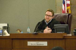 The honorable Judge Eric Goodman presides over the arraignment of Justin Caramanica at the Regional Justice Court, Thursday Nov. 10, 2011. Caramanica is accused of hitting and killing 12-year old Faith Love on Halloween night while allegedly driving under the influence.