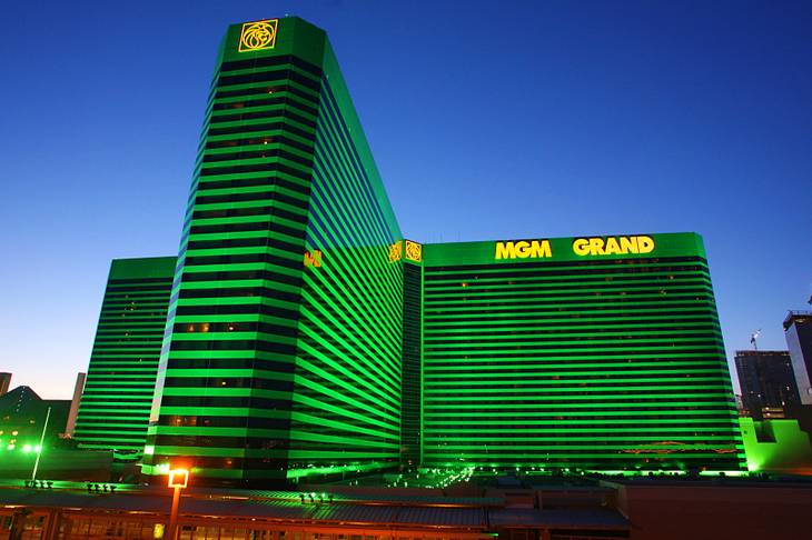 This is an exterior photo of the MGM Grand on the Las Vegas Strip.