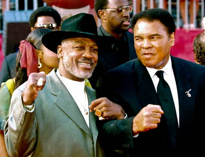 Joe Frazier and Muhammad Ali at the 2002 ESPYs in Los Angeles.