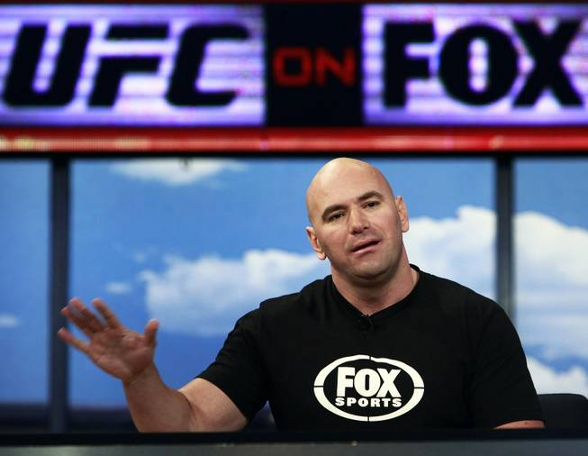 UFC President Dana White announces a multiyear agreement between Ultimate Fighting Championship and Fox Media Group in August 2011 at a news conference at Fox Studios in Los Angeles.