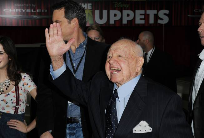 Mickey Rooney arrives at the premiere of  The Muppets at El Capitan Theater, Saturday, Nov. 12, 2011, in Los Angeles.  The Muppets opens in theaters Nov. 23, 2011.