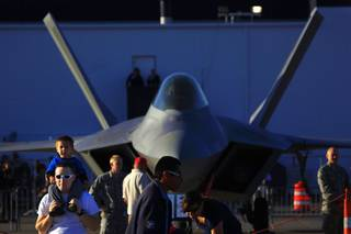 An Air Force F-22 Raptor is seen on display during Aviation Nation Saturday, Nov. 12, 2011 at Nellis Air Force Base.