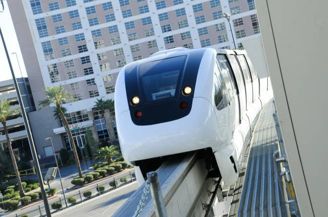 The Las Vegas Monorail pulls into the Convention Center station on Monday, Nov. 14, 2011.