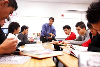 Edgar Acosta teaches English as a second language at Western High School on Tuesday, Nov. 15, 2011.