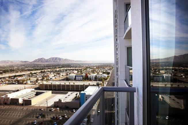The view from the balcony of a condo for sale at the Ogden in downtown Las Vegas on Friday, Nov. 18, 2011.