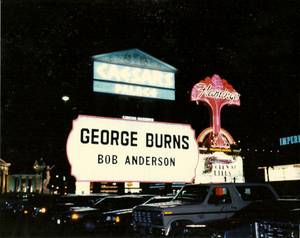 Bob Anderson's show is announced on the Flamingo's marquee along with George Burns.