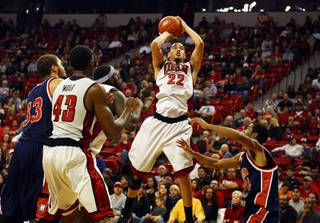 Chace Stanback goes up for a shot during UNLV's game against Morgan State at the Thomas and Mack Center Sunday, November 20, 2011.