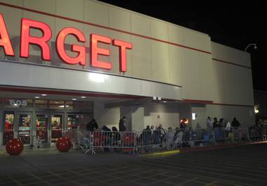 A crowd of shoppers waits outside of Target, 605 N. Stephanie St., on Nov. 24, 2011, hours before the midnight opening for Black Friday deals.