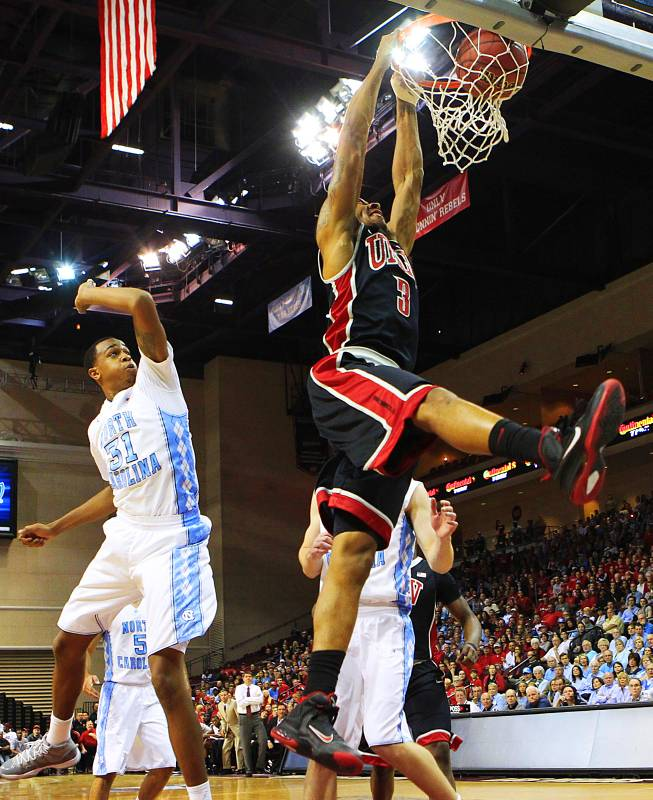 UNLV guard Anthony Marshall dunks on the University of North Carolina during the Las Vegas Invitational championship game Saturday, Nov. 26, 2011 at the Orleans Arena. The Rebels upset the number one ranked Tar Heels 90-80.