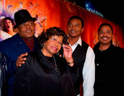 "Michael Jackson's mother Katherine Jackson and brothers on the red carpet for Cirque du Soleil's ""Michael Jackson: The Immortal World Tour"" in Montreal on Oct. 2, 2011."
