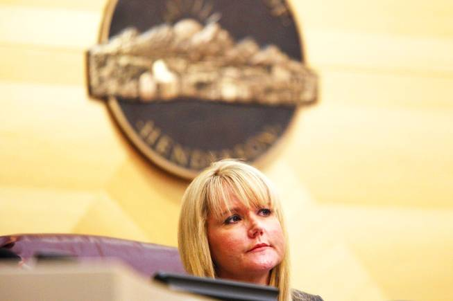 City Councilwoman Kathleen Vermillion listens during a Henderson City Council meeting Tuesday, Nov. 29, 2011,  in which the council unanimously appointed Josh M. Reid, U.S. Senate Majority Leader Harry Reid's son, to be the next city attorney.