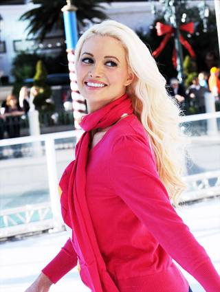 Holly Madison ice skates at Winter in Venice outside the Venetian on Nov. 29, 2011.