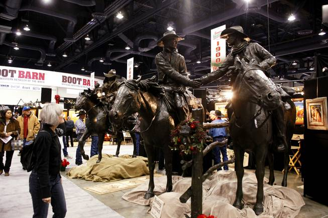 "The larger-sized sculpture ""Binding Contract"" by Bradford J. Williams for sale for over $100,000 at the Cowboy Christmas Gift Show at the Las Vegas Convention Center in Las Vegas Thursday, Dec. 1, 2011."
