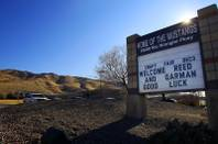 The sign in front of Damonte Ranch High School features a misspelling of Bishop Gorman's name Friday, Dec. 2, 2011 before their state championship game against Reed High School on Saturday.