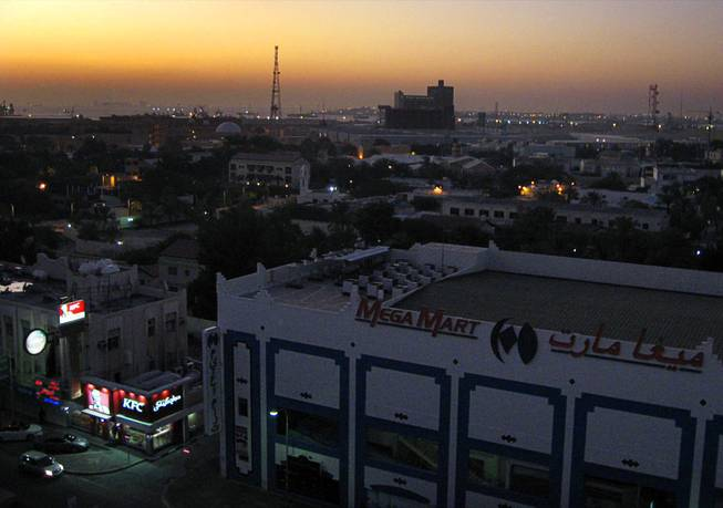 In Bahrain, a view of the Mega Mart at sunrise. December  2011.