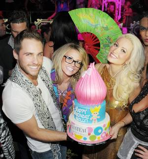 Holly Madison celebrates her 32nd birthday with Josh Strickland and Angel Porrino at Chateau Nightclub & Gardens on Dec. 3, 2011.