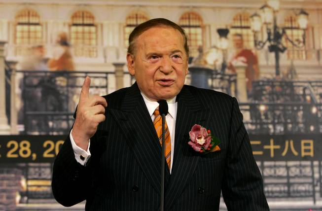 Sheldon Adelson, chairman and CEO of Las Vegas Sands Corp., is against online gambling because he doesn't believe young people can be prevented from making wagers, a spokesman said Wednesday. Adelson is shown here at a news conference for the opening of the Venetian Macao Resort Hotel on Aug. 28, 2007.