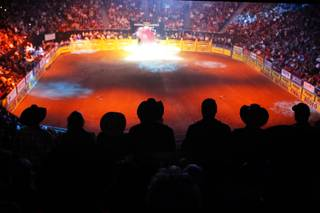 The opening ceremonies of the final round of the National Finals Rodeo at the Thomas & Mack Center in Las Vegas Saturday, December 10, 2011.