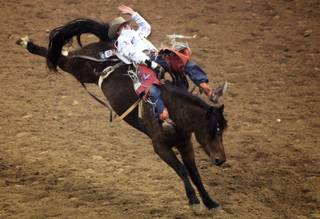 Bareback rider Kaycee Feild of Payson, Utah competes during the final round of the National Finals Rodeo at the Thomas & Mack Center in Las Vegas Saturday, December 10, 2011.