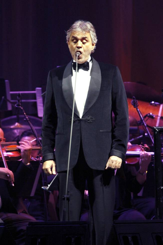 Andrea Bocelli performs at MGM Grand Garden Arena on Dec. 10, 2011.