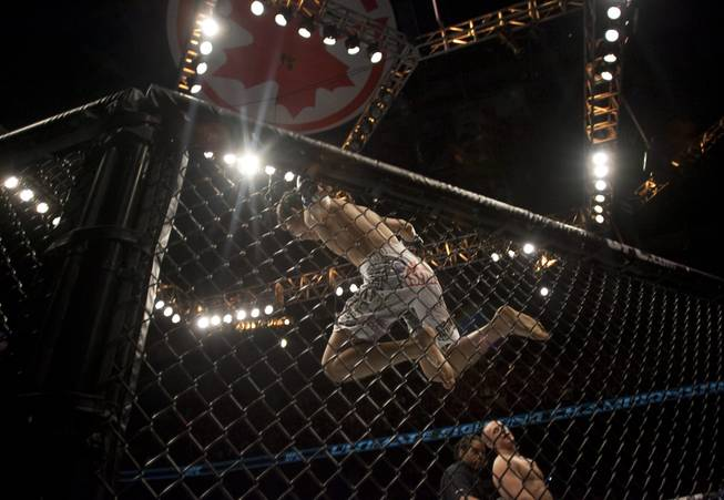 South Korea's Chan Sung Jung, top, leaps from the top of the octagon as he celebrates a technical knockout against Mark Hominick, lower right, during UFC 140 in Toronto on Saturday, Dec. 10, 2011.