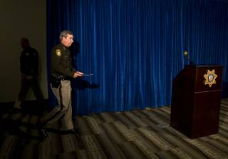 Sheriff Doug Gillespie arrives for a news conference at Metro Police Headquarters Monday, December 12, 2011. Gillespie called the news conference after a Metro Police officer shot and killed a man early this morning at a condominium complex in the northwest valley.  .
