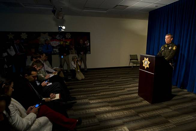 Sheriff Doug Gillespie addresses reporters during a news conference at Metro Police Headquarters on Monday, Dec. 12, 2011. Gillespie called the news conference after an officer shot and killed a man at a condominium complex in the northwest valley.