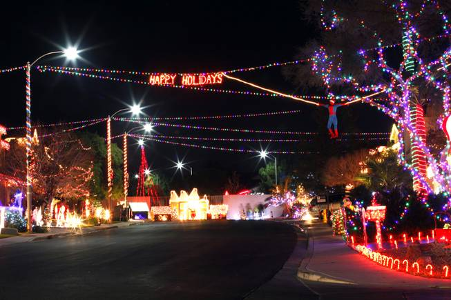 "Quiver Point Avenue in Henderson, seen on Wednesday, Dec. 14, 2011, won first place in the ""Street Competition"" category for the City of Henderson's holiday light contest."