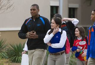 Bishop Gorman High School football player Ronnie Stanley, left, is shown at the school Thursday, December 15, 2011. Stanley, an offensive tackle, announced that he will be playing for Notre Dame.