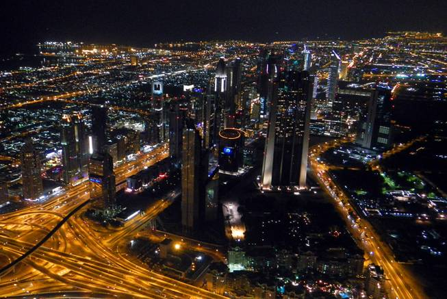 in Dubai, United Arab Emirates, a view of the city from the Burj Khalifa observation tower.  December  2011.
