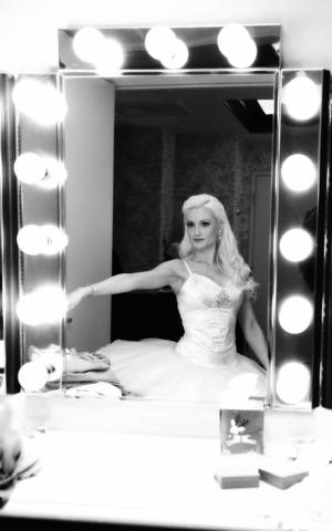 "Holly Madison backstage at Nevada Ballet Theatre's ""The Nutcracker"" at the Paris on Dec. 17, 2011."