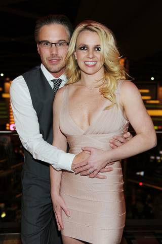 Britney Spears and Jason Trawick celebrate Trawick's 40th birthday at Planet Hollywood on Dec. 16, 2011.