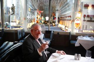 Oscar Goodman sits in a booth at Oscar's Beef Booze & Broads inside the Plaza in downtown Las Vegas Monday, Dec. 19, 2011.