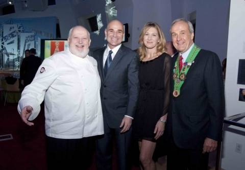 Chef Michel Richard, Andre Agassi, Steffi Graf and Larry Ruvo.