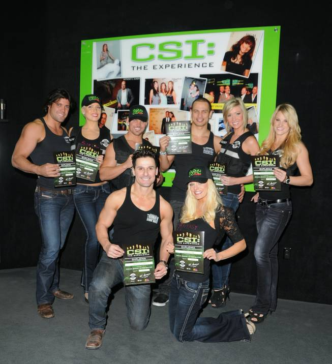 "Cast members of Thunder From Down Under and ""Fantasy"" at ""CSI: Crime Scene Investigation"" at MGM Grand."
