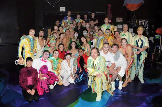 "Steven Tyler and the cast of ""Mystere"" at Treasure Island on Dec. 18, 2011."