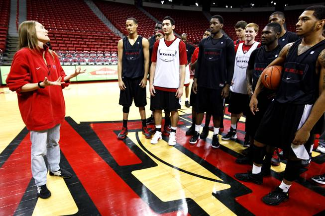 Suzanne Lea thanks the UNLV basketball players for participating in the surprise for the Ramos family after practice at the Thomas & Mack Center on Thursday, Dec. 22, 2011.