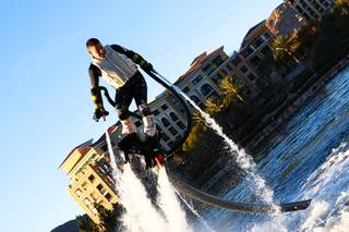 Franky Zapata twists and turns atop his Flyboard during his national premier demonstration Wednesday, Dec. 28, 2011, at MonteLago Village at Lake Las Vegas.