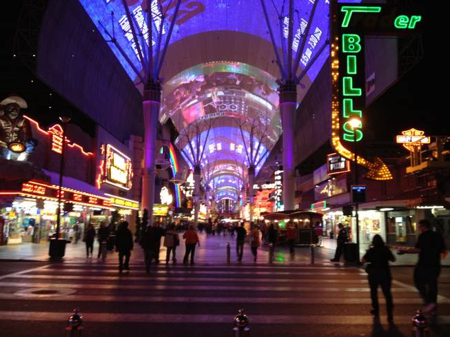 Fremont Street has been opened for its evening of tribute band performances, Dec. 31, 2011.