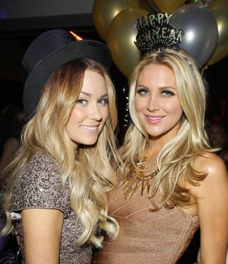 Lauren Conrad and Stephanie Pratt at Hyde Bellagio on Dec. 31, 2011.