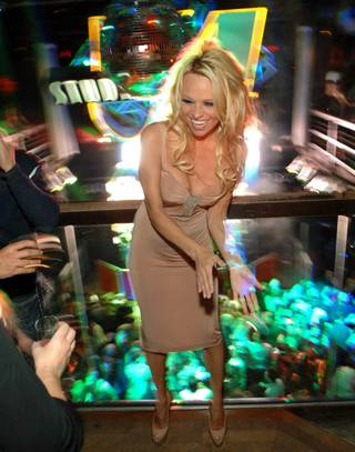 Pamela Anderson hosts the final New Year's Eve at Studio 54 in MGM Grand on Dec. 31, 2011.