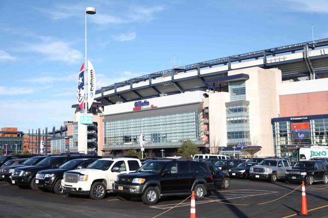 The front entrance of Gillette Stadium, home of the New England Patriots, in Foxborough.